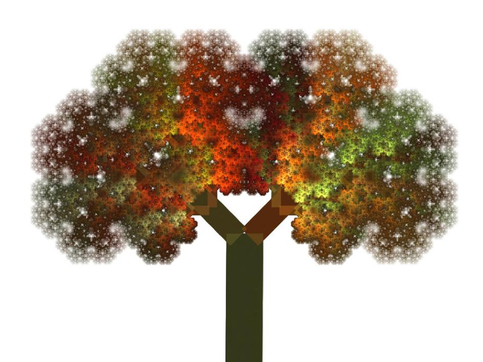 Dies ist eine Version des Pythagoras-Baumes, einem fraktalen Gebilde (nach streng mathematischen Regeln aufgebaut), das ins unendlich Kleine und Feine ausgearbeitet werden kann, und das als Symbol für den hier besprochenen Lebensbaum dienen kann.