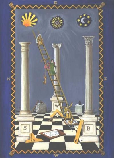 Eine freimaurerische Darstellung mit drei Säulen auf dem typischen 'Schachbrett'-Muster-Boden, mit der Sonne über der linken Säule (das Männliche darstellend), dem Mond über der rechten Säule (das Weibliche darstellend) und Sirius über der mittleren Säule, darstellend den 'vervollkommneten Menschen' oder Horus, den Sohn von Isis und Osiris. Beachte das 'Auge des Horus' im Sirius.
