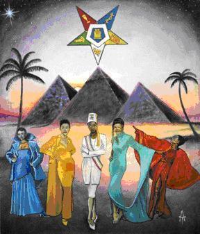 OES-Kunst mit Sirius über der grossen Pyramide.