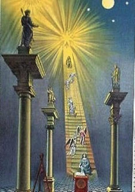 Freimaurerische Kunst, die Sirius, den Blazing Star, als Ziel der Reise der Freimaurer darstellt.