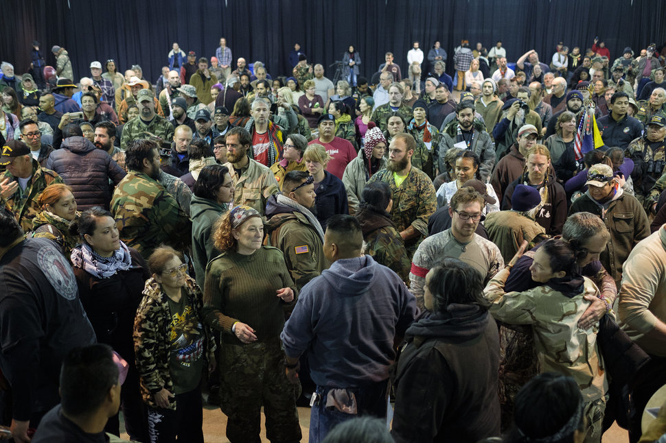 More than 500 people participate in a forgiveness ceremony for veterans at the Four Prairie Knights Casino & Resort on the Standing Rock Sioux Reservation on Monday, Dec. 5, 2016.