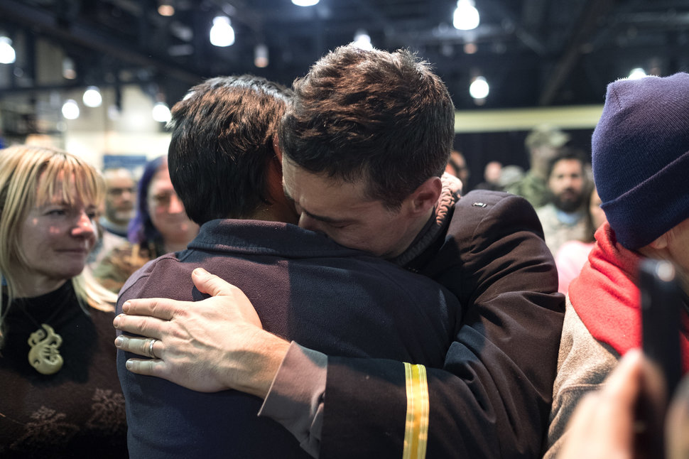 Gen. Wesley Clark Jr. hugs a man participating in a forgiveness ceremony for veterans at the Four Prairie Knights Casino & Resort on the Standing Rock Sioux Reservation on Monday, Dec. 5, 2016.