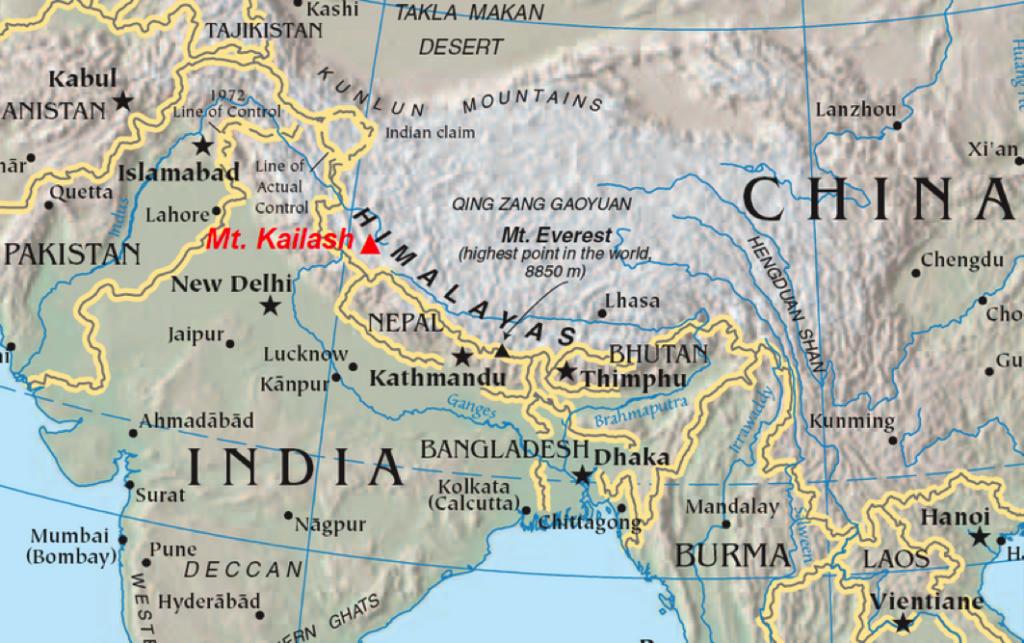 Himalaya Berge Karte.Der Geheimnisvolle Heilige Berg Kailash Nabel Der Welt Und